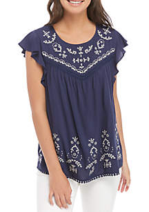 Taylor & Sage Short Sleeve Embroidered Woven Blouse