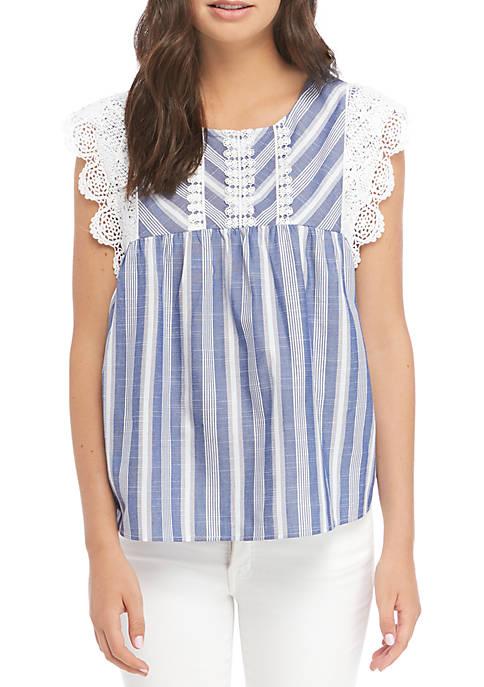 Short Crochet Sleeve Striped Woven Top