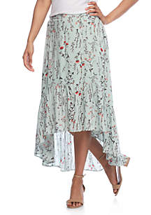 High Low Tiered Floral Skirt
