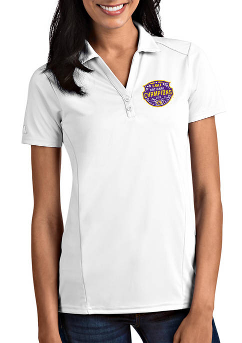 NCAA LSU Tigers 2020 National Champions Interlock Knit Short Sleeve Polo Shirt