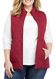 Plus Size Microfiber Vest with Embroidered Scroll