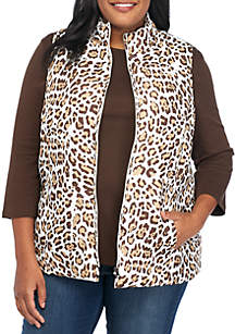 Plus Size Quilted Animal Print Puffer Vest