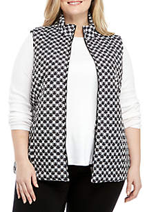 Plus Size Houndstooth Quilted Puffer Vest