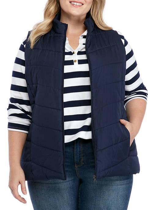 Kim Rogers® Plus Size Solid Puffer Vest