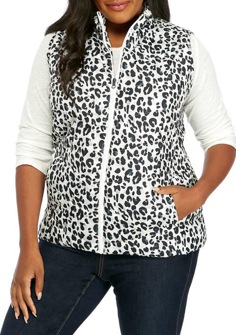 Kim Rogers® Plus Size Cheetah Print Puffer Vest