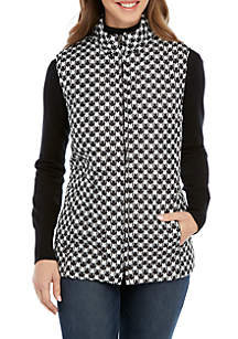 Houndstooth Quilted Puffer Vest