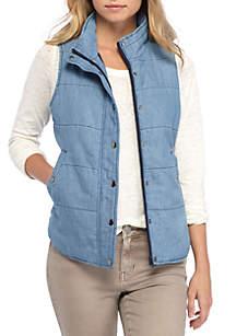 Chambray Tencel Puffer Vest