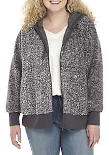 Plus Size Sherpa Full Zip Jacket