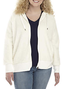Plus Size Sherpa Full Zip Jacket
