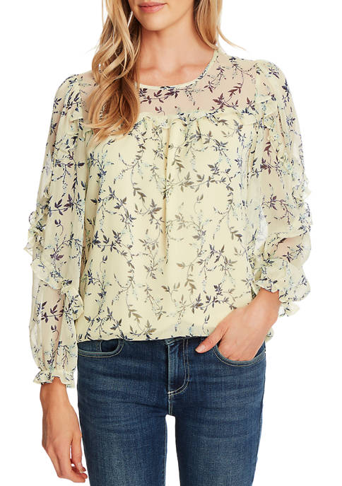 CeCe Womens Long Sleeve Wisteria Vine Ruffle Blouse