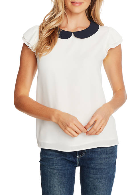Womens Pleated Cap Sleeve Collared Blouse