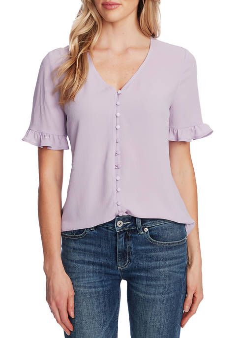Womens Ruffled Button Down Blouse