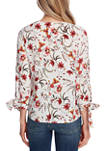 Womens Floral Tie Sleeve Woven Top