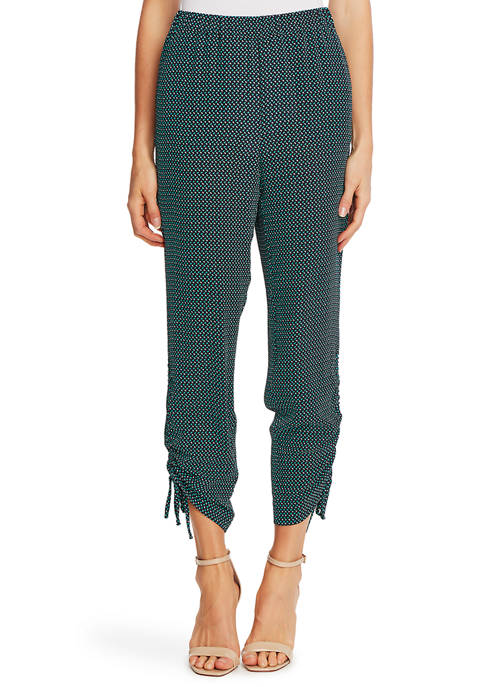 CeCe Womens Geometric Basket Ruched Pants