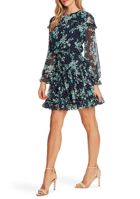 CeCe Womens Long Sleeve Bouqut Clip Dot Dress