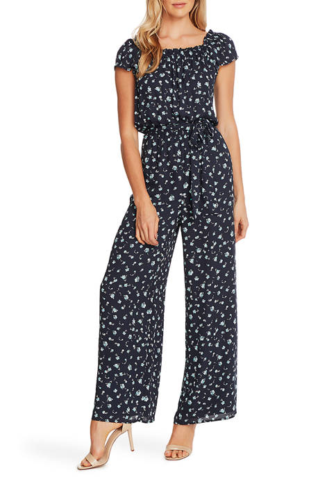 CeCe Womens Square Neck Scattered Floral Jumpsuit