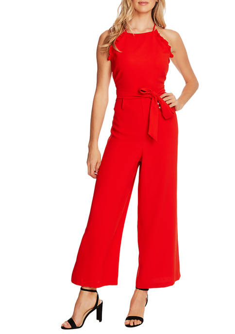 CeCe Womens Sleeveless Ruffle Jumpsuit