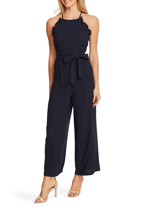 CeCe Womens Sleeveless Ruffle Jumpsuit with Belt