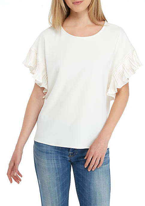 CeCe Textured Knit Pleated Sleeve Top