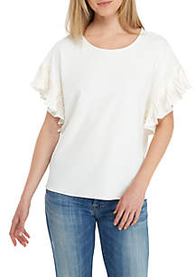Textured Knit Pleated Sleeve Top