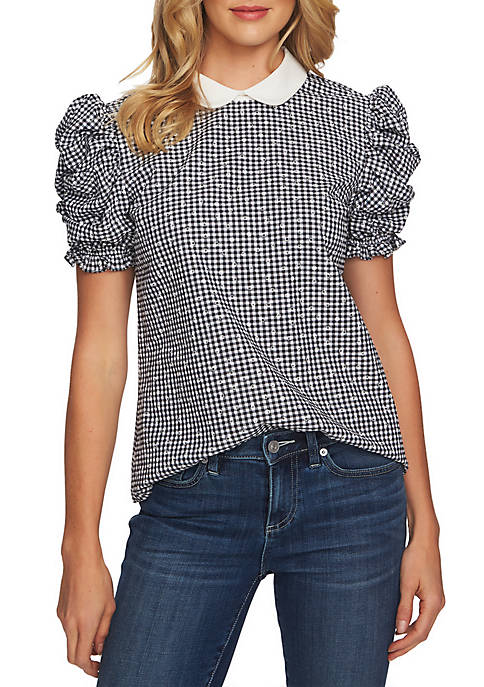 Puffed Short Sleeve Floral Gingham Collared Blouse