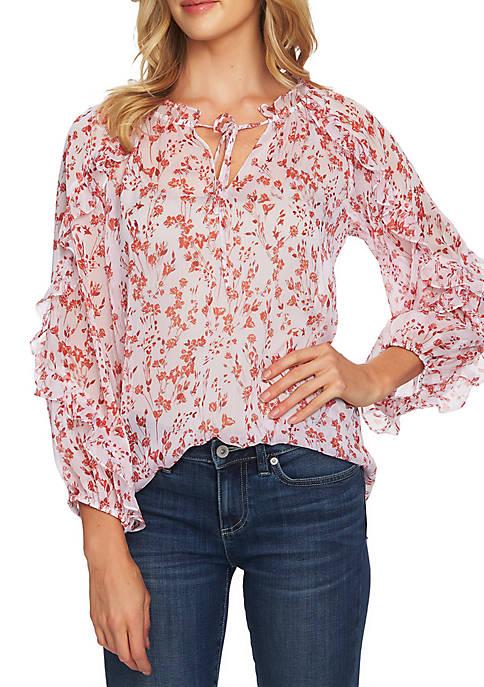 CeCe Long Sleeve Cascade Ruffle Floral Top
