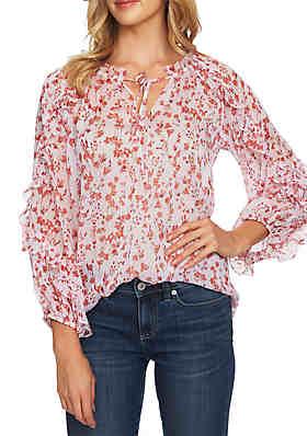 e046a9785b1 CeCe Long Sleeve Cascade Ruffle Floral Top ...