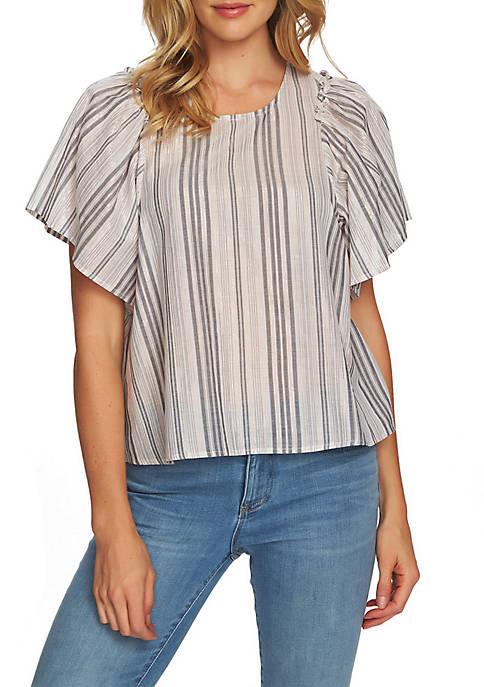CeCe Flutter Sleeve Metallic Stripe Blouse