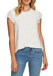 CeCe Embroidered Mix Media Top