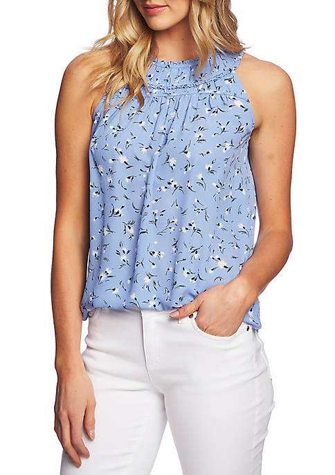 CeCe Sleeveless Floral Blouse with Gathered Neck