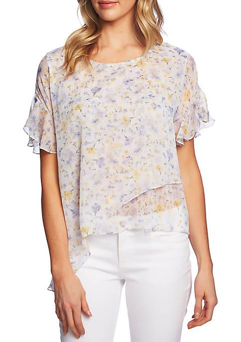 CeCe Short Sleeve Woven Print Blouse