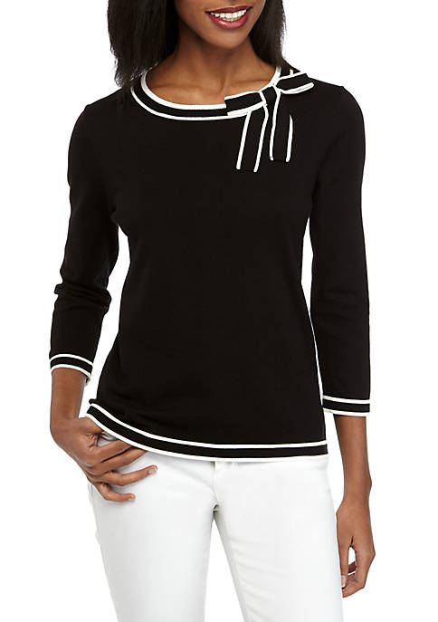 CeCe 3/4 Sleeve Tipped Sweater