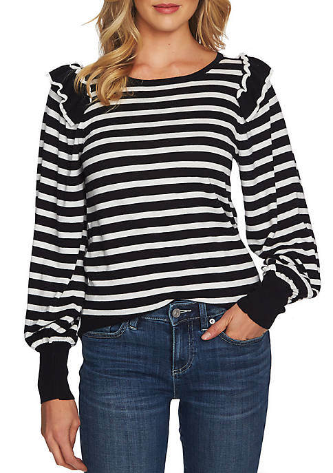 CeCe Long Sleeve Ruffle Stripe Top