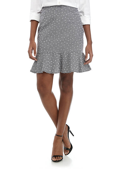 CeCe Floral Gingham Ruffle Skirt