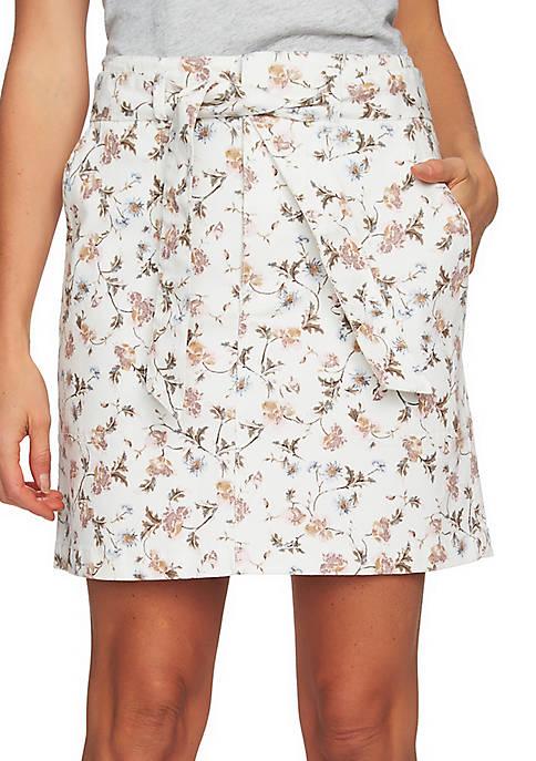 CeCe Floral Print Denim Skirt