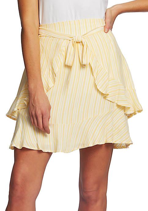 CeCe Jacquard Stripe Ruffle Skirt