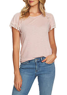 CeCe Short Sleeve T Shirt With Lace