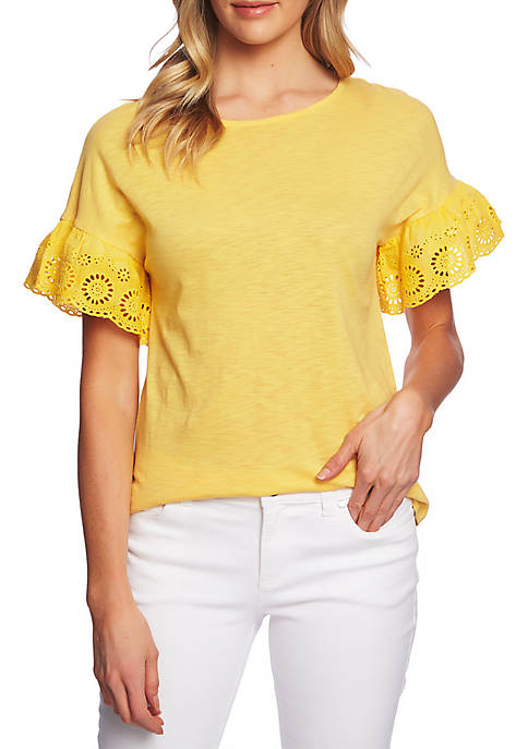 Short Sleeve Knit Top with Eyelet Ruffles