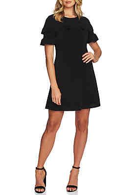 75575f73db CeCe Short Sleeve Ruffled Knit Dress ...