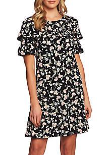 CeCe Short Sleeve A Line Duchess Dress