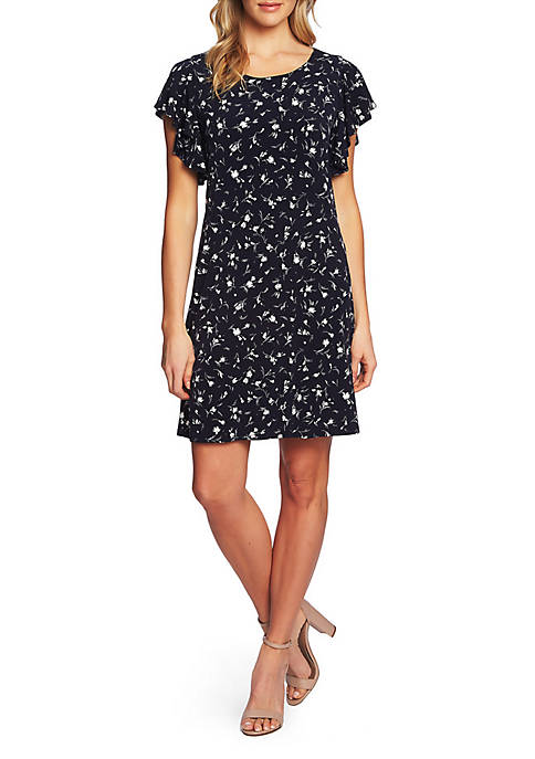 Short Sleeve Floral Knit Dress