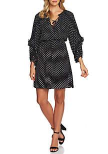 CeCe Long Sleeve Cascade Ruffle Dot Dress