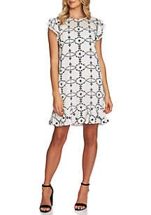CeCe Flutter Sleeve Embroidered Dress