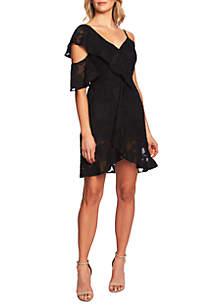 CeCe Cold Shoulder Cascading Ruffle Dress