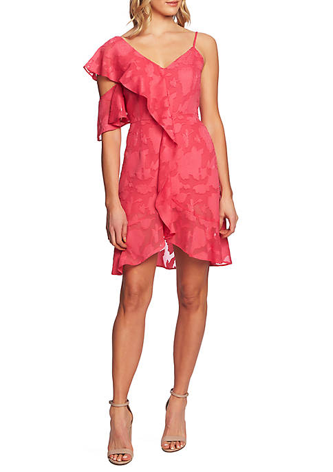 CeCe Cold Shoulder Cascading Ruffle Dress