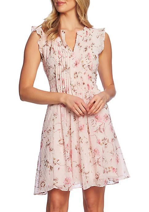 CeCe Flutter Sleeve Floral Clip Dot Dress