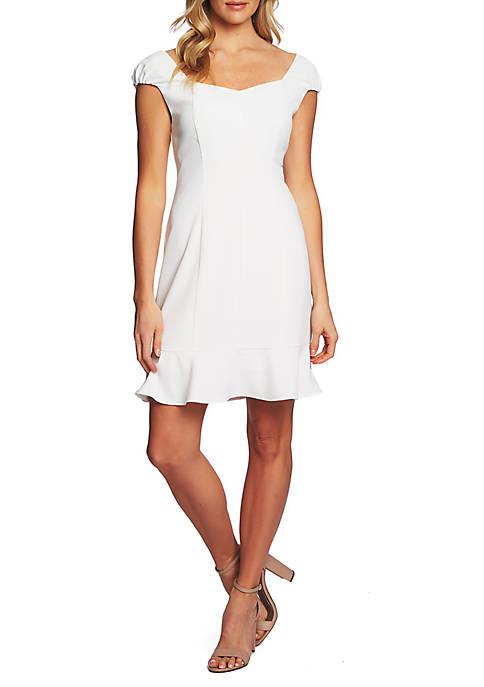 Cap Sleeve Ruffle Hem Dress