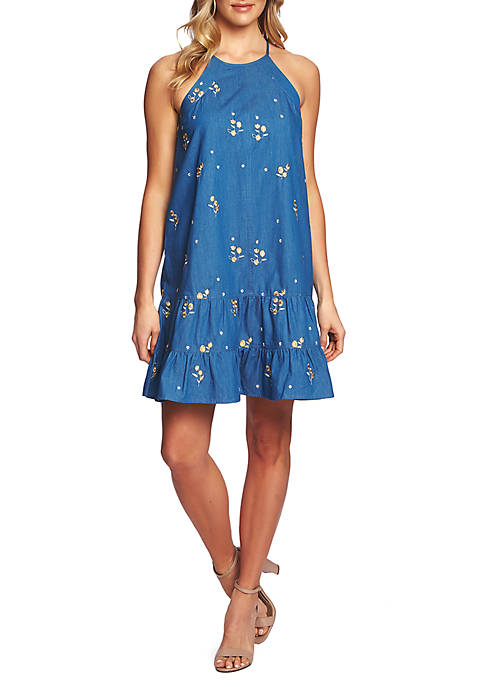 CeCe Sleeveless Embroidered Denim Halter Dress