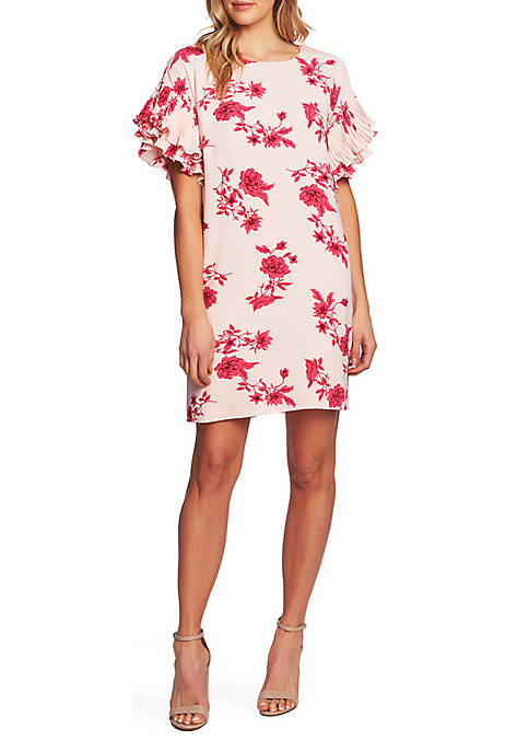 CeCe Etched Floral A Line Dress