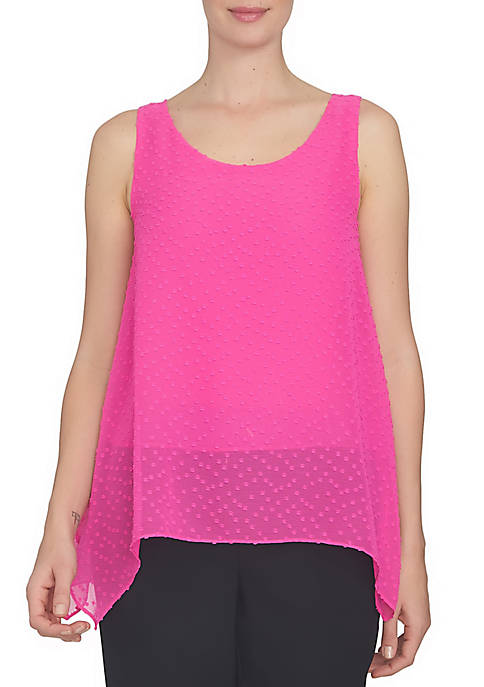 CeCe Sleeveless Scattered Clipped Dot Uneven Hem Blouse